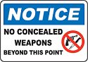notice no concealed weapons
